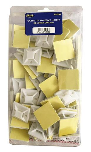 10593 Cable Tie Adhesive Mount 30x30mm Nylon  100pcs