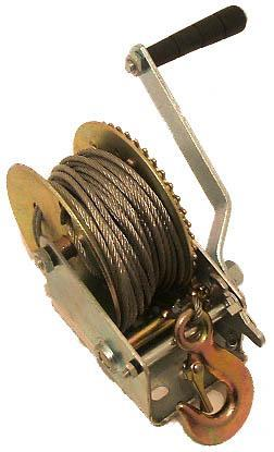 9173 Winch Hand 450kg come with 15 metre cable and hook